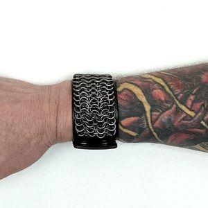 Chain-mail Leather Wrist Band